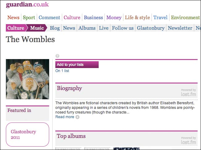 The Guardian's Glastonbury Wombles page