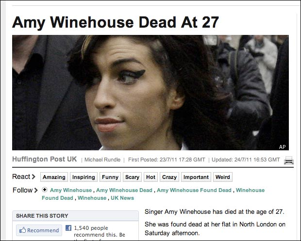 Amy Winehouse story on Huffington Post UK
