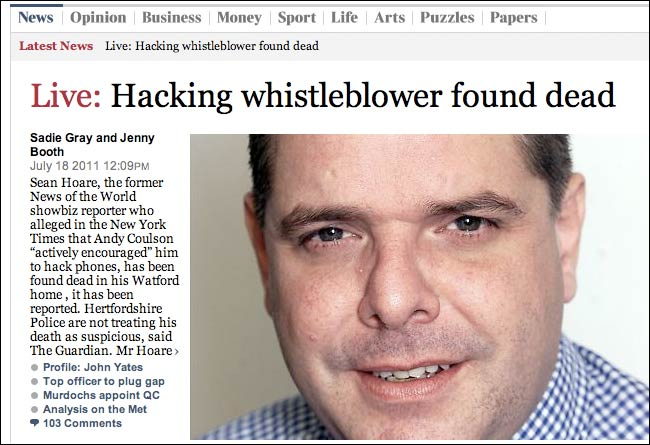 Live Hacking Whistleblower Dead
