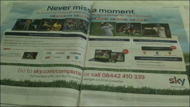 Sky Sports advert in The Sun