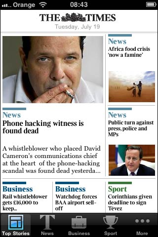 The Times iPhone app front page