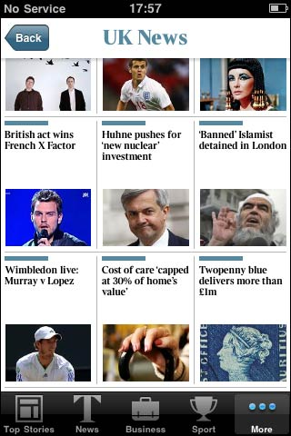 The Times app news grid