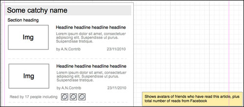 Guardian Facebook app wireframe for a trailblock with social features