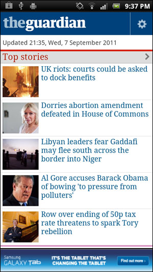 Guardian Android App screenshot from Eurodroid