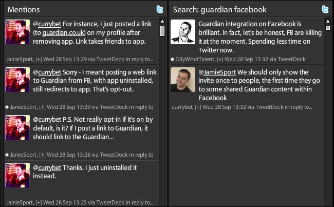 Facebook Tweetdeck conversation