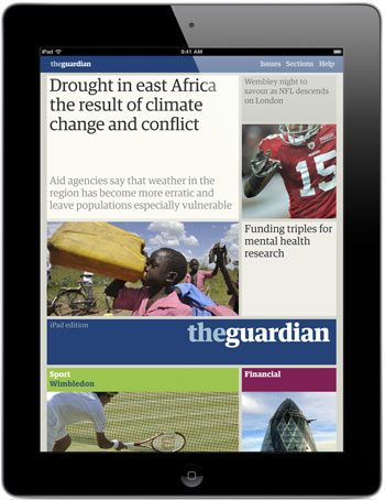 Front page of the Guardian iPad app