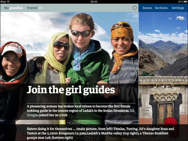 Alternative landscape Ladakh article layout on iPad edition