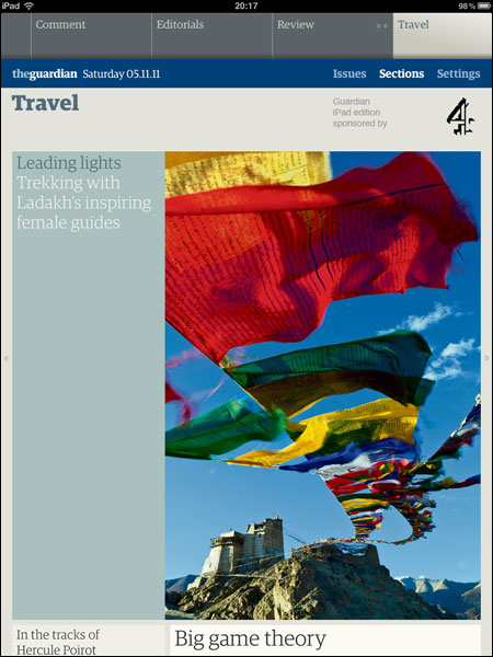 The Ladakh article trailled on the iPad edition Travel front