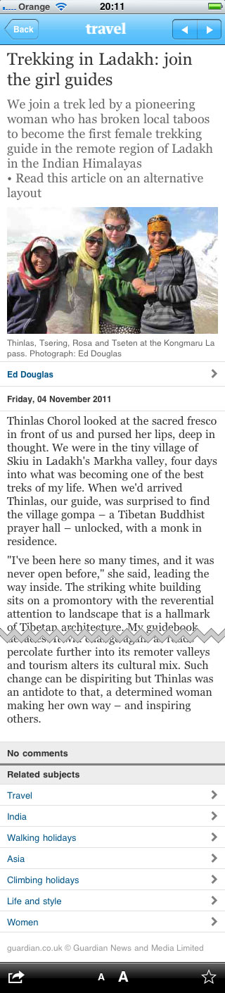 Ladakh article in the iPhone app