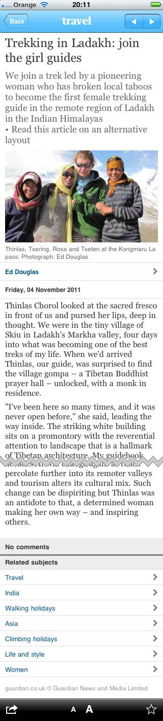 Ladakh article in the iPhone app