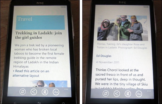 Ladakh article on Windows Phone