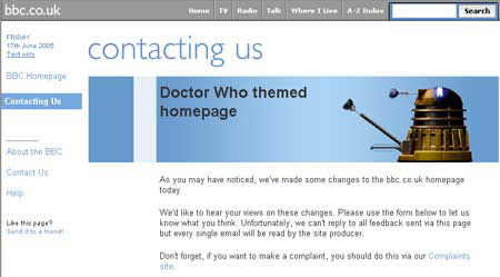Doctor Who homepage change contact form