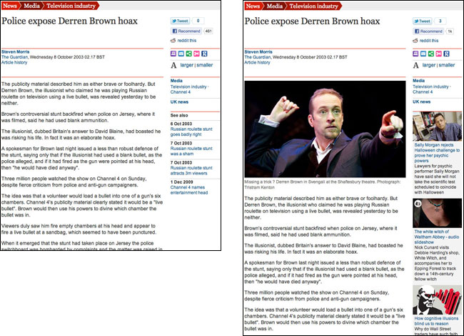 Derren Brown article on the Guardian