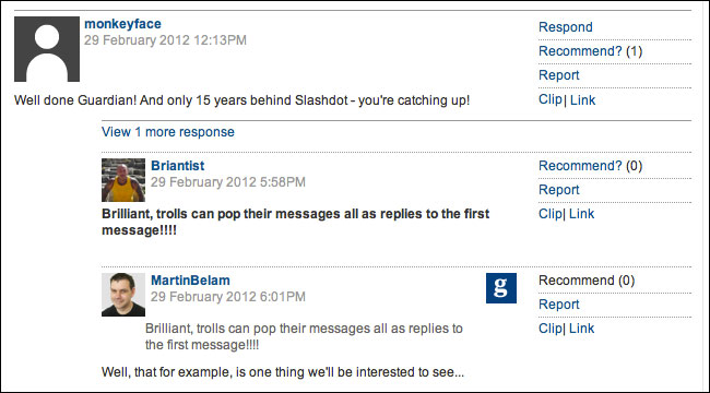 Threaded Comments Trial
