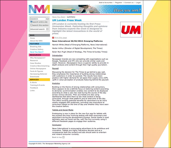 NMA website with 2003 copyright image in the footer