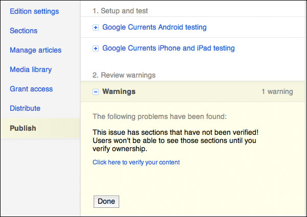 Google Currents warning dialog