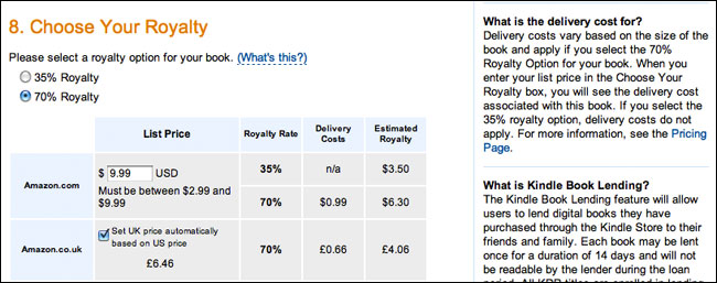 Amazon Royalty Interface