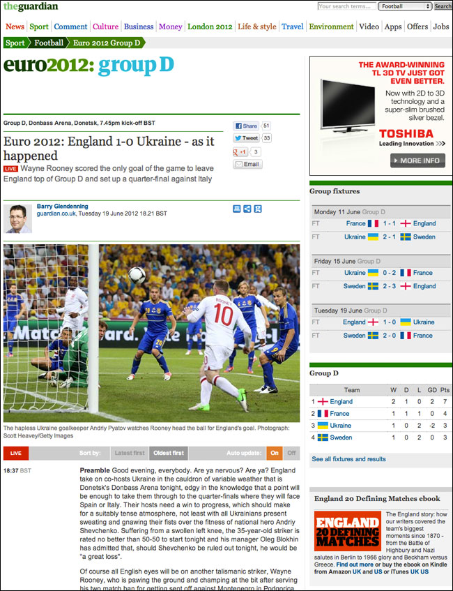 Euro2012 England-Ukraine live blog