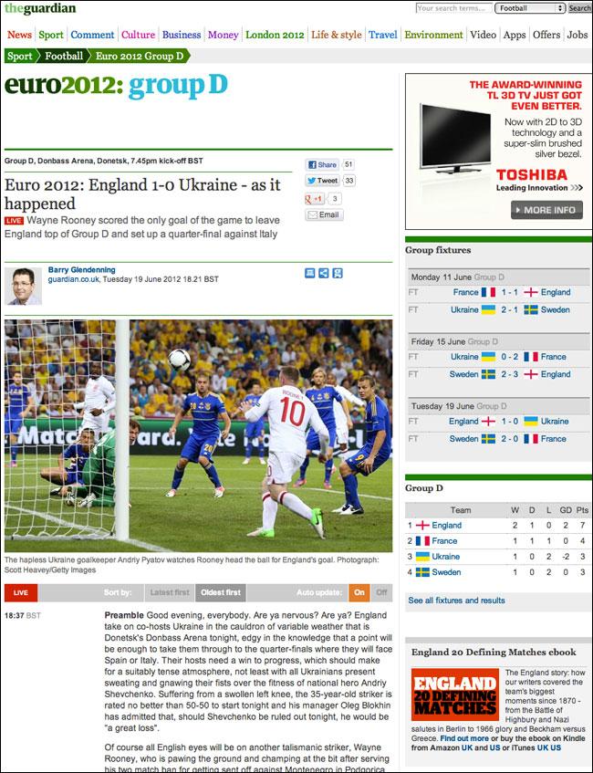 Euro2012 England-Ukraine live blog