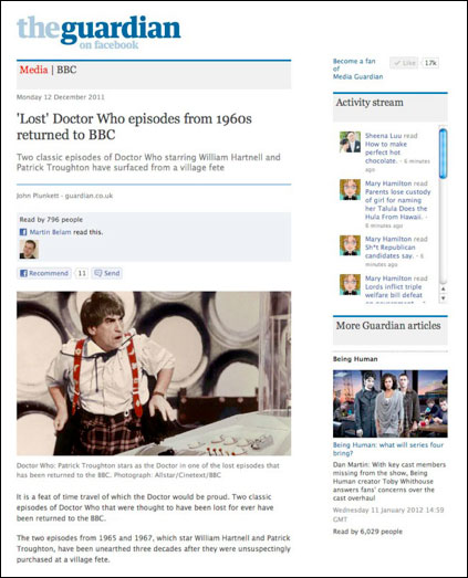 Guardian Facebook app featuring Patrick Troughton as Doctor Who
