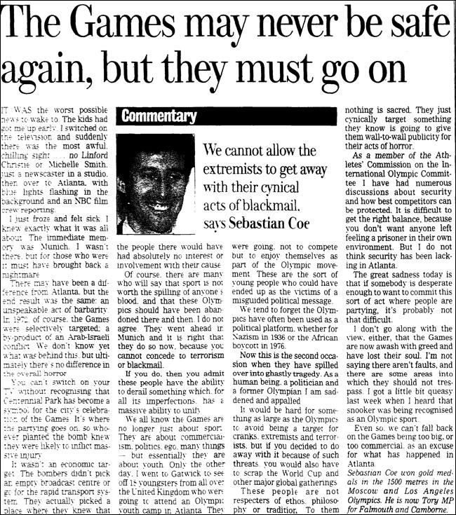 Sebastian Coe article in the Observer in 1996