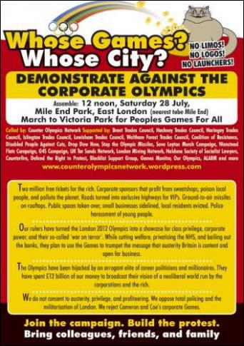 Olympics protest flyer