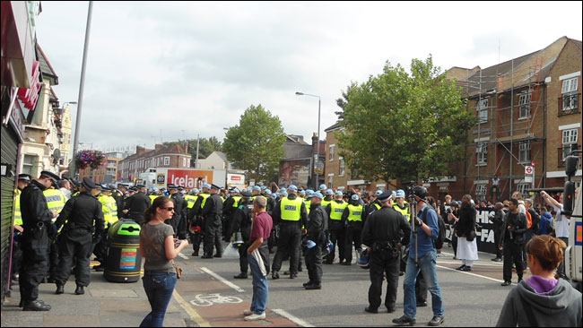 The rear of the racist EDL march in Walthamstow