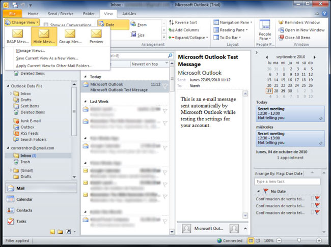 Microsoft Outlook on the desktop