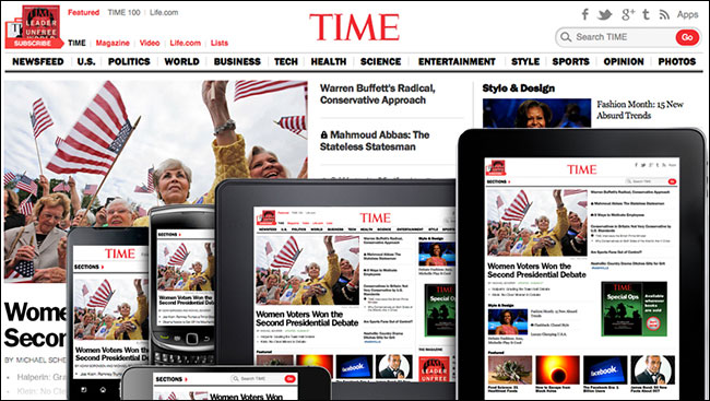Time's responsive redesign shown on several devices