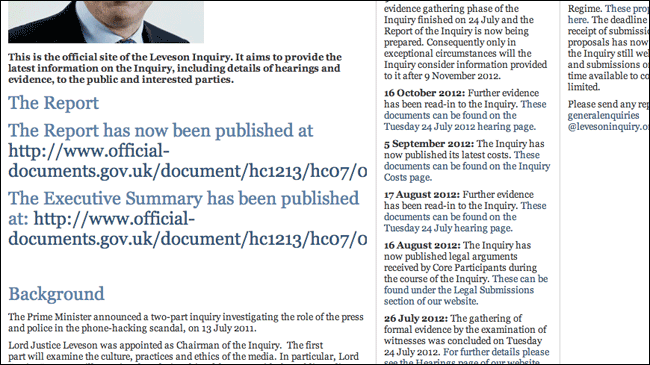 Leveson Inquiry homepage this afternoon
