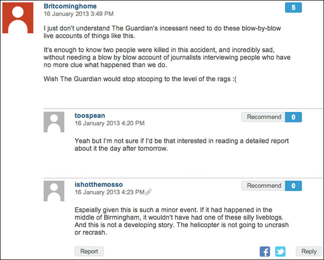 Anti-Live Blog poster on the Guardian website