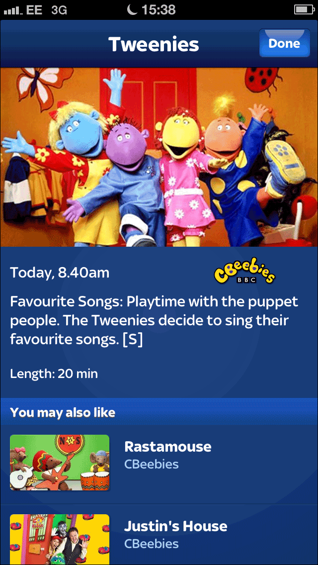 Tweenies listing in the Sky+ iPhone app