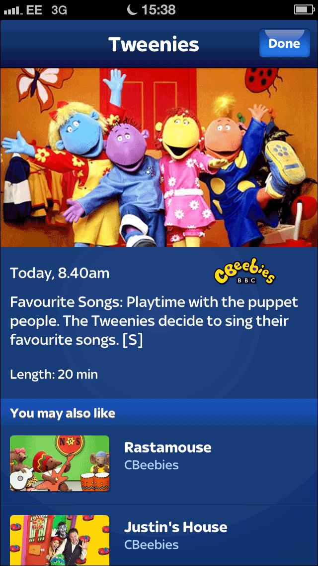 Tweenies listing in the Sky+ iPhone app