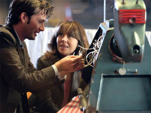 The Doctor, Sarah Jane Smith and K9 in 'School Reunion'