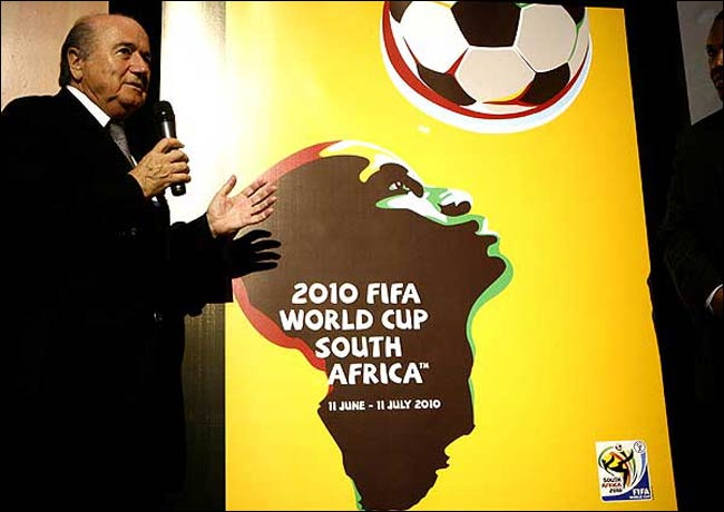 2010 Sepp Blatter and the 2010 World Cup poster