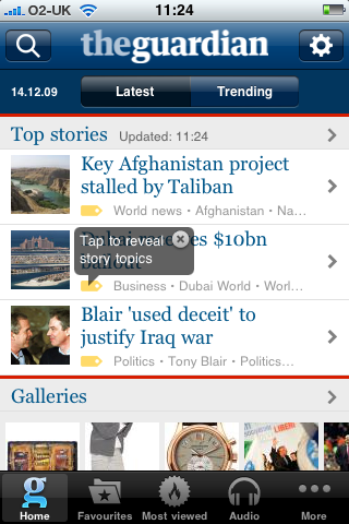 Guardian iPhone app homepage