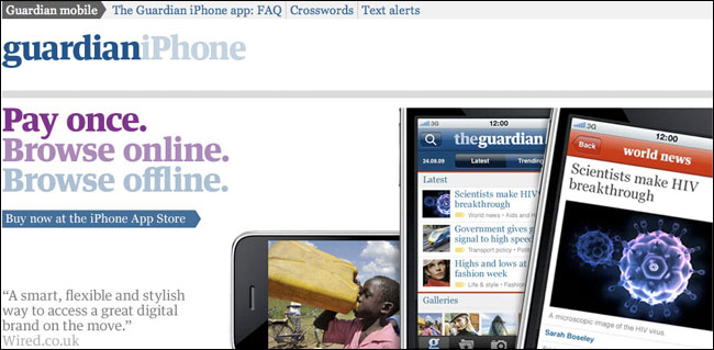 Guardian iPhone app page