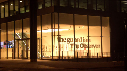 The Guardian's Kings Place office at night