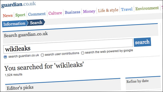 A search fro wikileaks on guardian.co.uk