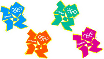 Multi-coloured Olympic logo selection