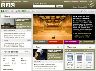 Personalised BBC homepage - January 2009