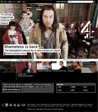 Channel4 homepage - January 2009
