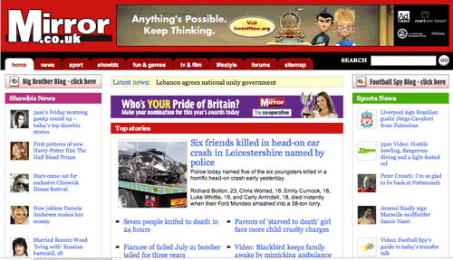 Previous Mirror.co.uk homepage