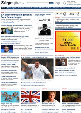 August 2008 Telegraph homepage