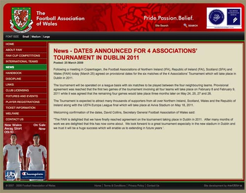 A news item on the Welsh FA website