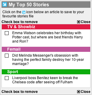 Daily Mail Beta My Stories Panel