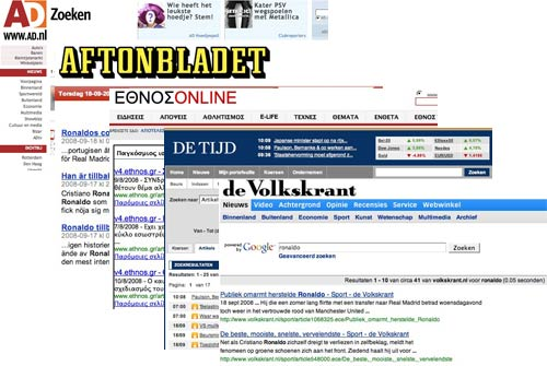 European newspaper example serps