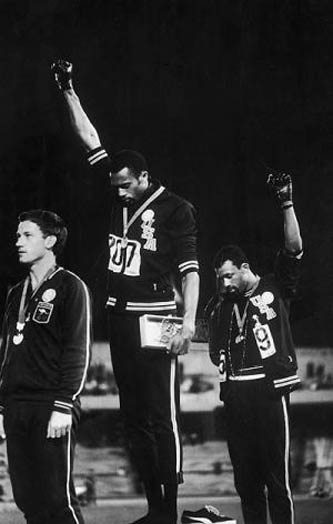 1968 Black Power salute by Tommie Smith and John Carlos at the Mexico Olympics