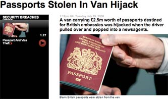 Sky News story about stolen British passports