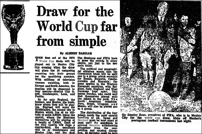 1970 World Cup draw article from The Guardian